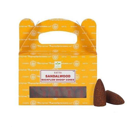 Satya SandalWood BackFlow (Szantálfa) Lefelé Folyó Kúpfüstölő