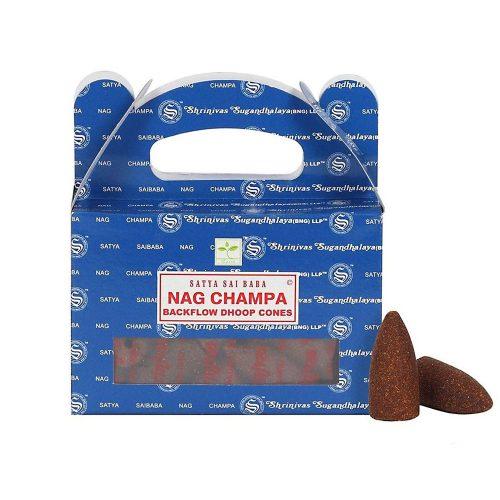 Satya Nag Champa Back Flow Lefelé Folyó Kúpfüstölő
