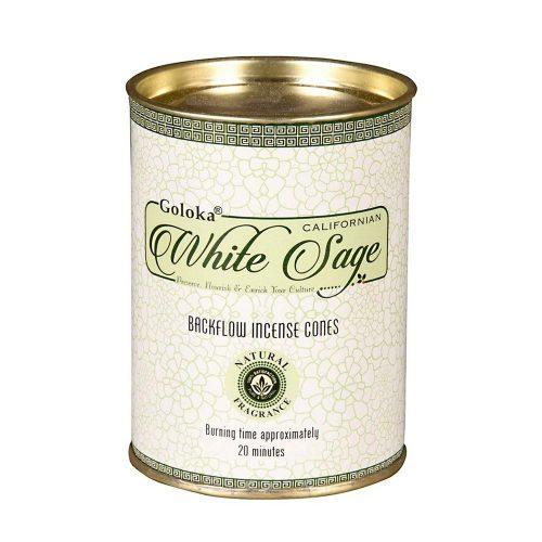Goloka White Sage Back Flow (Fehér Zsálya) Lefelé Folyó Kúpfüstölő