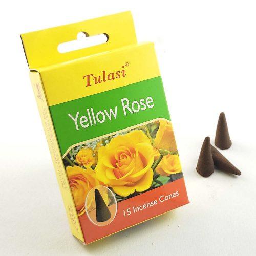 Tulasi Yellow Rose (Sárga Rózsa) Indiai Kúpfüstölő (15db)