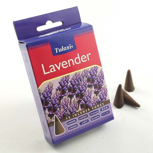 Tulasi Lavender (Levendula) Indiai Kúpfüstölő (15db)