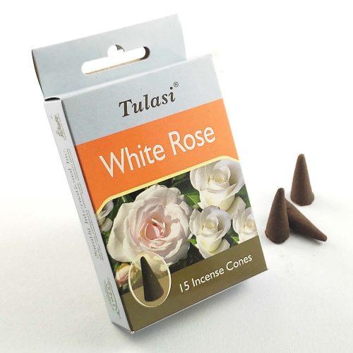 Tulasi White Rose (Fehér Rózsa) Indiai Kúpfüstölő (15db)