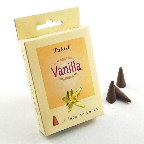 Tulasi Vanilla (Vanilia) Indiai Kúpfüstölő (15db)