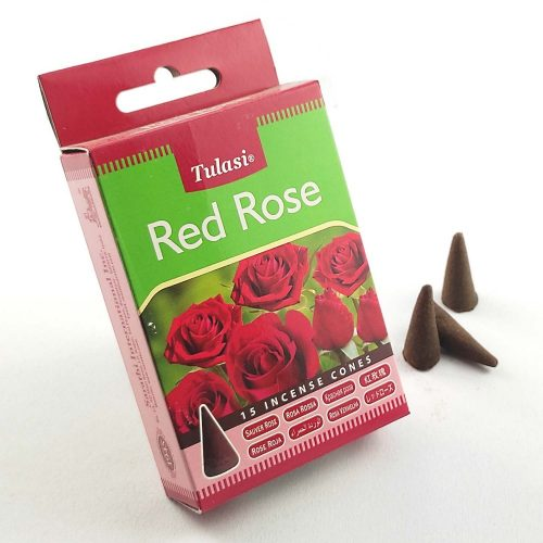 Tulasi Red Rose (Vörös Rózsa) Indiai Kúpfüstölő (15db)