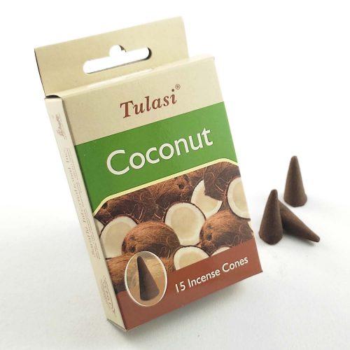 Tulasi Coconut (Kókuszdió) Indiai Kúpfüstölő (15db)