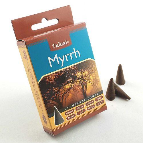 Tulasi Myrrh (Mirha) Indiai Kúpfüstölő (15db)