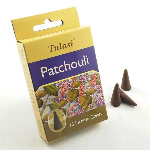 Tulasi Patchouli (Pacsuli) Indiai Kúpfüstölő (15db)